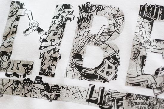 LIBE (ライブ) × ESOW  ESOW BIG LOGO TEE (SILVER PRINT)