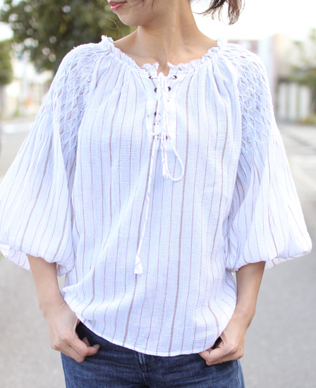 KiiRA (キーラ) 2018S/S SMOCKING STRIPE BLOUSE ki-3217
