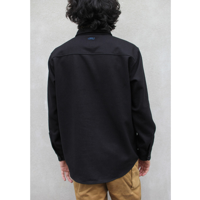 GREENCLOTHING ( グリーンクロージング ) × JAU ( ジャウー ) WOOL FLANNEL SHIRTS LIMITED EDITION ( BLACK×BLUE刺繍 )