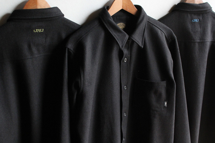 GREENCLOTHING ( グリーンクロージング ) × JAU ( ジャウー ) WOOL FLANNEL SHIRTS LIMITED EDITION ( BLACK×SILVER刺繍 )