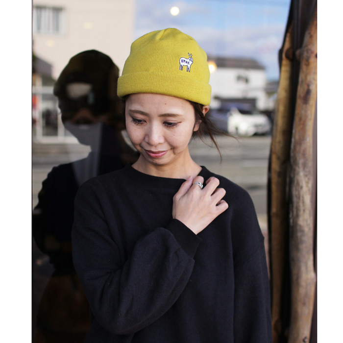 KM4K ( カモシカ ) ビーニー TEAM MANAGER BEANIE 6 ( YELLOW )
