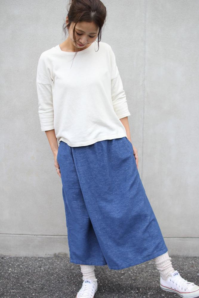 GOHEMP ( ゴーヘンプ ) パンツ LADY'S WRAP CULOTTE PANTS ( BLUE ) GHP8070PLD