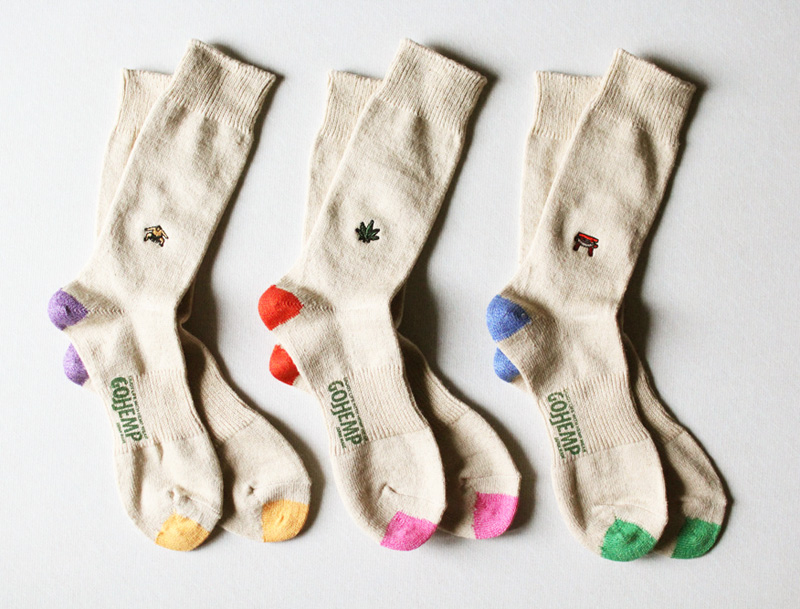 GOHEMP ( ゴーヘンプ ) × ANONYMOUSISM ソックス EMBROIDERY CREW SOCKS GHG0041GLL